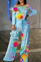Modest Elegant Tie Dye Long Sleeve Off Shoulder Culottes Jumpsuit HYY8003