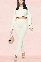 Casual Modest Simplee Long Sleeve Round Neck High Waist Pants Sets XZ3702