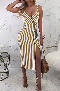 Sexy gespleißt Play Play Button Rückengurt V-Ausschnitt Mid Waist Slip Kleid D8179