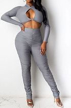 Fasion Sexy Sets Autumn Winter Pure Color Long Sleeve Ruffle Pants Two-Piece YR8049
