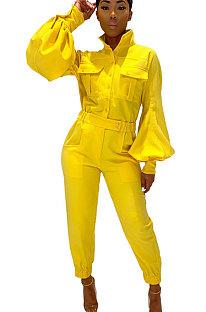 EurAmerican Pure Color Lantern Sleeve Jumpsuit met lange mouwen YR8048