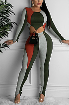 Casual Simplee Long Sleeve Round Neck Spliced Sets PU6011