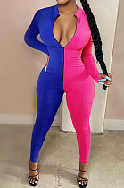 Color Matching Long Sleeve Sleeve Finger Zipper Jumpsuits YR8032