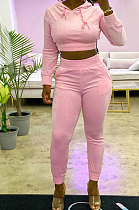 Pure Color Casual Fashion Hooded Sets Two-Piece  R8042