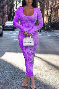 Damen Kleid Druck Langarm Rüschen T-Shirt Rock YR8025