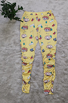 Casual Polyester Cartoon Graphic Mid Waist Long Pants YZ1010