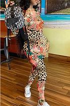 Повседневный облегающий комбинезон с длинными рукавами и круглым вырезом с цветочным рисунком LJJ6020