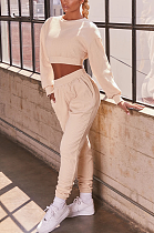 Casual Simplee Long Sleeve Round Neck Crop Top Sweat Pants Sets LML182