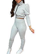 Womenswer Fashion عارضة عالية الرقبة مجموعات فقاعة الأكمام YR8041