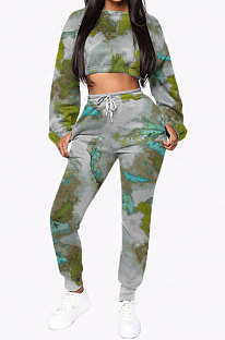 Womenswear Casual Polyester Tie Dye Hoodie Sweater Two-Piece NRS8001