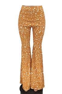Womenswear Printing Big Bell Bottoms Mid Waist Long Pants NRS8006