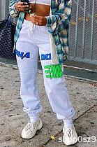 Street Polyester Cotton Blend Letter Long Pants NRS8008