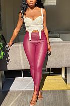 Modest Sexy Simplee Pu Leather Split Hem Long Pants HM5389