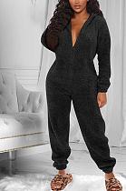 Casual Simplee Tweed Long Sleeve Hoodie Casual Jumpsuit QQM4133
