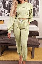 Fashion Womenswear Casual Pure Color Fleece Three-Piece ATE5105