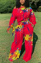 Casual Sporty Long Sleeve Off Shoulder Long Pants Sets QQM4131