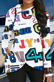 Fashion Numerals Printing Lässiger Langarm-Kapuzenmantel mit Kapuze ATE5208