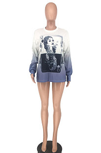 Polyester Long Sleeve Letter Round Neck Printing Joker Loose Blouse NRS8002