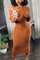 Casual Modest Sexy Long Sleeve Off Shoulder Long Dress ED8309