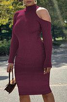 Сексуальное женское платье с открытыми плечами и длинным рукавом из полиэстера с половиной шеи, однотонное платье ATE5210