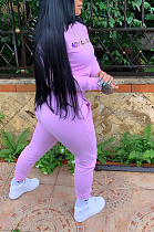 Casual Sporty Letter Half Sleeve Round Neck Hoodie Sweat Pants Sets HYM3512