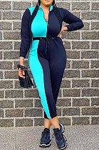 Color Matching Zipper Long Sleeve Casual Polyester High Waist Jumpsuit XMY019