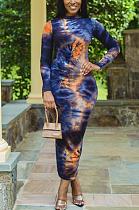 Casual Modest Tie Dye Long Sleeve Round Neck Long Dress OMM1175