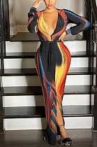 Vestido comprido modesto sexy de manga longa com decote em V profundo L0326