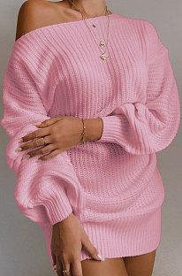 Casual lange mouw lantaarn mouw off shoulder gebreide wollen jurk MGN1998