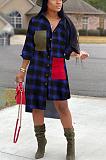 Casual Modest Buffalo Plaid Long Sleeve Lapel Neck Shirt Dress OMM1099