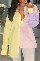 ملابس نسائية بألوان متباينة وأكمام طويلة قمصان كاجوال فضفاضة NRS8016