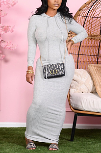 Lässig Sexy Langarm Hoodie Langes Kleid BLX7540
