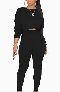 Bescheiden Utility-blouse met lange mouwen en ronde hals Lange broek sets Geen sieraden WY6622