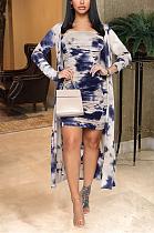 Casual Simplee Tie Dye Long Sleeve Dress Coat Sets GL6307