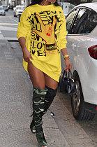 Round Neck Loose Casual  Printing Fashion Fleece T-Shirt Long Skirt XMY007