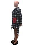 Lässige bescheidene Buffalo Plaid Langarm-Hemd mit Revershals-Hemd OMM1099
