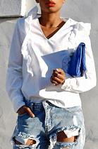 Fashion Womenswear Pure Color Agaric Edge Shirt T-Shirt NRS8215