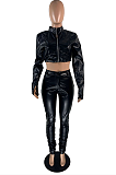 Casual Sporty Long Sleeve Round Neck Ruffle Crop Top Long Pants Sets YFS3595