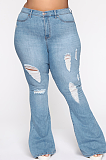 Casual Modest Large Size Distressed Ripped Flare Leg Jeans SMR2333