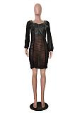 Sexy A-lijn jurk met lange mouwen, lantaarnmouwen en ruches TRS1079