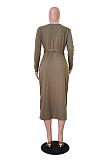 Casual Striped Long Sleeve V Neck Belted Longline Top No Bag TRS1083