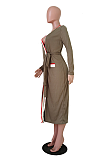 Casual gestreepte longline top met lange mouwen, V-hals en riem, geen tas TRS1083