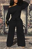 Casual jumpsuit van katoenmix met lange mouwen, geknoopte taille en stropdas WY6728