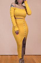 Pure Color Knitting Mide Skirt Long Sleeve Nail Bead Skirts Sets BDF8024