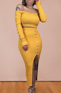 ピュアカラーニットマイドスカート長袖ネイルビーズスカートセットBDF8024