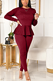 Casual Sporty Long Sleeve Round Neck Self Belted Flounce Long Pants Sets LA3234