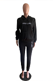 Casual Sporty Letter Long Sleeve Hoodie Sweat Pants Sets OMM1178