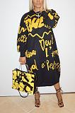 Casual Basics Letter Long Sleeve Round Neck Long Dress HG078