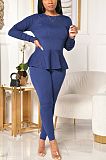 Casual Simplee Long Sleeve Round Neck Flounce Long Pants Sets YYZ645