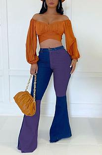Modest Polyester Colorblock Contrast Panel Flare Leg Pants HG080